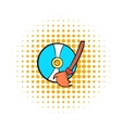 Clean up hard drive icon comics style vector image