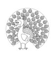 colorless funny cartoon peacock vector image vector image