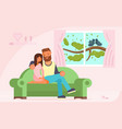 couple sitting on sofa flat vector image