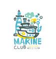 creative sea club logo design template with vector image