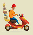 delivery scooter driver pizza products goods vector image vector image