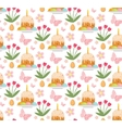Easter seamless pattern with cake eggs and tulips vector image vector image