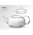 empty glass teapot on transparent background vector image vector image
