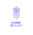 fast flower delivery linear logo vector image vector image