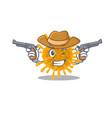 funny coronaviruses as a cowboy holding guns vector image vector image