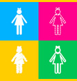 girl sign four styles of icon on vector image vector image