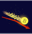 gold bitcoin icon and red arrow vector image