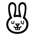 Graffiti cute rabbit sprayed in black over white