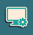 green computer monitor and gear icon isolated on vector image vector image