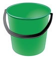 Green plastic bucket with a black handle vector image vector image