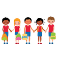 Group of children students in school uniforms vector image vector image