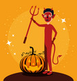 halloween card with pumpkin and devil character vector image
