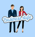 happy couple in business style clothing vector image vector image