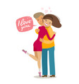happy loving couple hugging each other romance vector image vector image