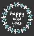 happy new year pastel card with a wreath on black vector image