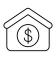 house with dollar thin line icon dollar and real vector image