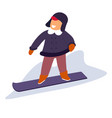 kid snowboarding down snowy slope during vector image