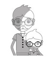 Line father with his son using glasses