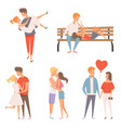 love couples flirting and kissing romantic lovers vector image