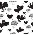 Love cupids hearts arrows and clouds seamless vector image