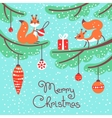 Merry Christmas Cute little squirrels with gift vector image