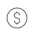money icon line dollar coin symbol vector image