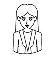monochrome contour half body of woman with formal vector image