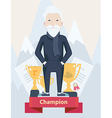 Old man on a winners podium in sport vector image vector image