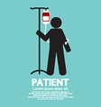 Patient With Saline Solution Graphic Symbol vector image vector image