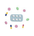pills blister and capsules flat set vector image vector image