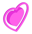 Pink heart icon isometric 3d style vector image vector image