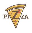 pizza restaurant promotional emblem with vector image vector image