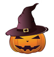 Pumpkin in witch hat vector image