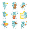 robots musicians playing musical instruments set vector image vector image