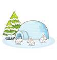 scene with white bunnies in winter vector image vector image