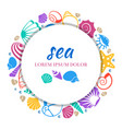 Sea round banner design - colorful seashells