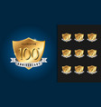 set of anniversary badges golden anniversary vector image