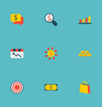 set of commerce icons flat style symbols with gold vector image vector image