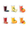 set of juices in a glass vector image