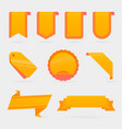 set of orange banners ribbons and round sticker vector image