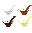 set of splashes from a jet of milk milk chocolate vector image