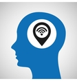 silhouette head location wifi icon vector image