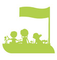 silhouette of happy kids with banner vector image vector image