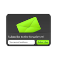Subcribe to newsletter website element with green vector image vector image