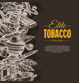 tobacco and smoking sketch background vector image vector image