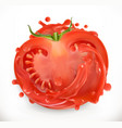 tomato juice fresh vegetable 3d realism icon vector image vector image