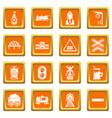 train railroad icons set orange square vector image vector image