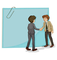 Two businessmen in front of the empty template vector image vector image