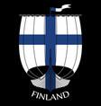 warship of the vikings - drakkar and finland flag vector image vector image