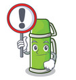 with sign thermos character cartoon style vector image vector image